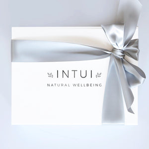 Intui Yoga Gift Box, Closed with Satin Ribbon. Plant-Based Aromatherapy Candles