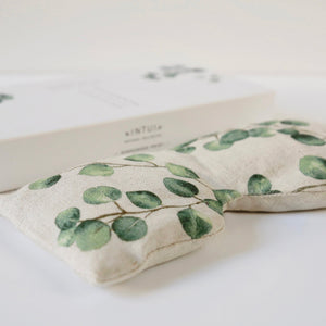 Bliss Eye Pillow with Green Leaves Print, Eco Friendly Yoga Accessory with Natural Filling of Linseed and Lavender