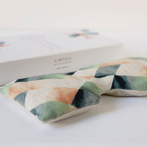 Bliss Eye Pillow with Colourful Geometric Design, Eco Friendly Yoga Accessory with Linseed and Lavender
