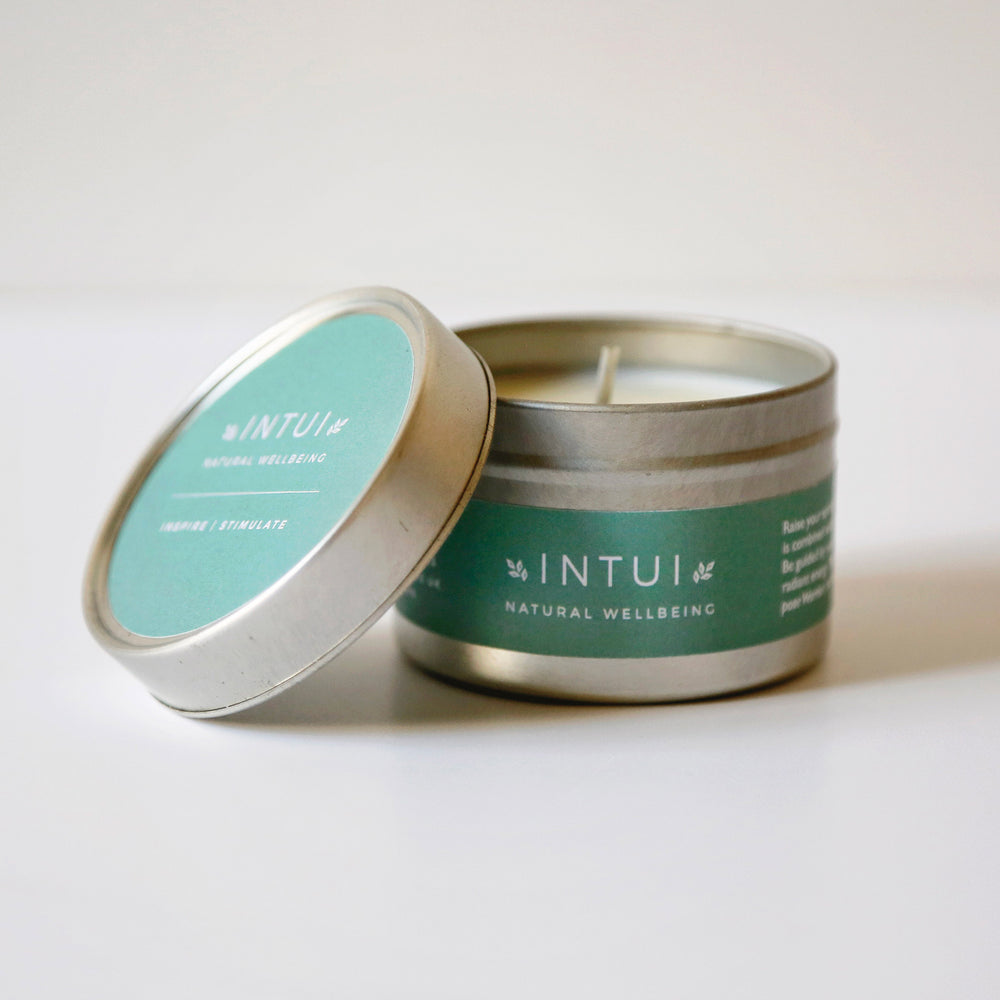 Inspire and Stimulate Travel Candle with Patchouli, Geranium, Orange and Lemon