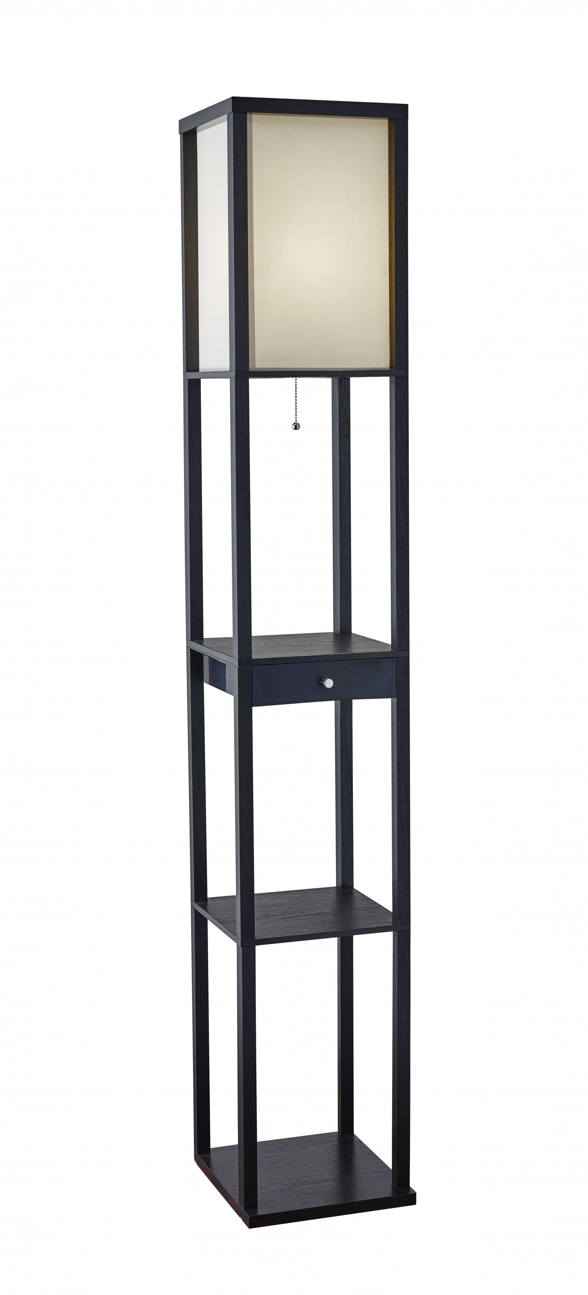 Black Wood Finish Floor Lamp with Display Shelf and Storage Drawer