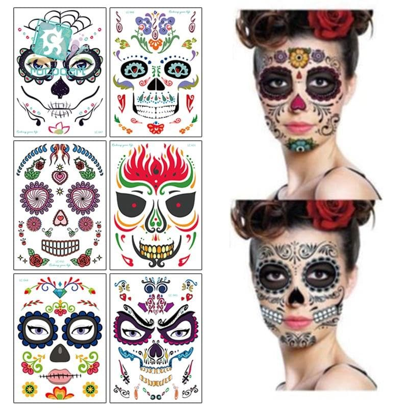 Halloween Temporary Tattoo Stickers Face Body Sticker Scary Mischief Lasting Waterproof Tattoo Decor Props Women Men
