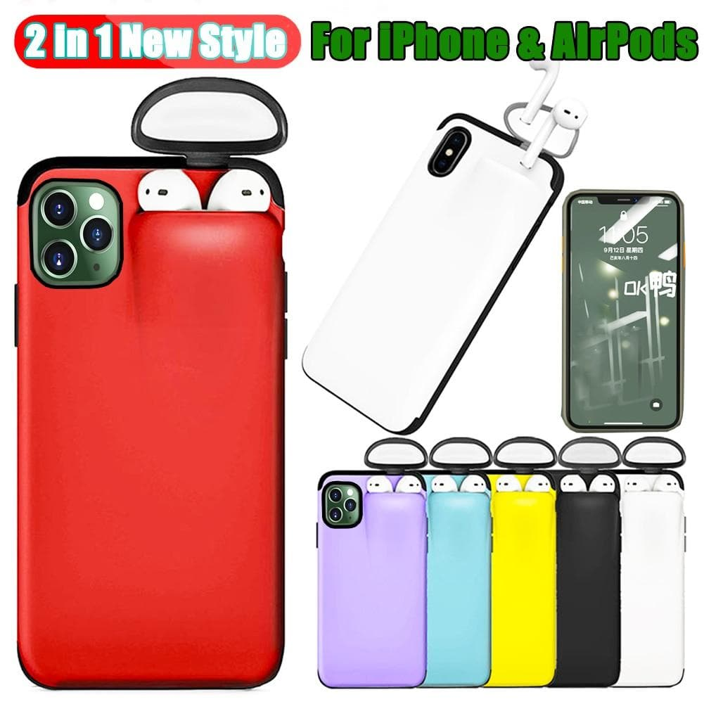Jetjoy Case for iPhone 11 Pro Max Case Xs Max Xr X 10 8 7 Plus Cover for AirPods 2 1 Holder Hard Case for AirPods Case Hot Sale