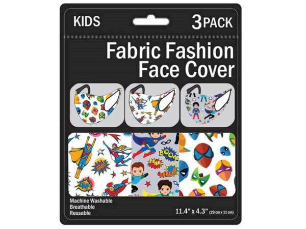 Kid's 3 Pack Superhero's Washable Face Mask 3 Asst ( Case of 50 )