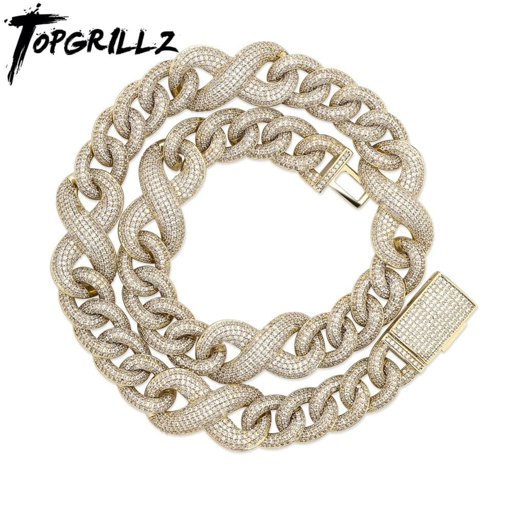 TOPGRILLZ 14mm Miami Generous Buckle Copper Material Cuban Necklace  Iced Out Cubic Zirconia Hip Hop Jewelry Gift