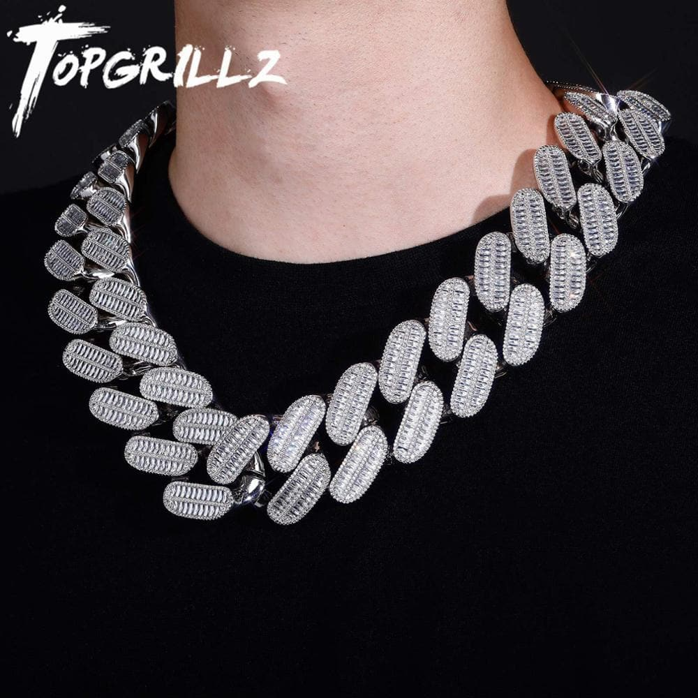 TOPGRILLZ New 39mm Miami Cuban Chain Necklace High Quality Micro Pave Cubic Zirconia Hip Hop Fashion Charm Jewelry Gift For Men