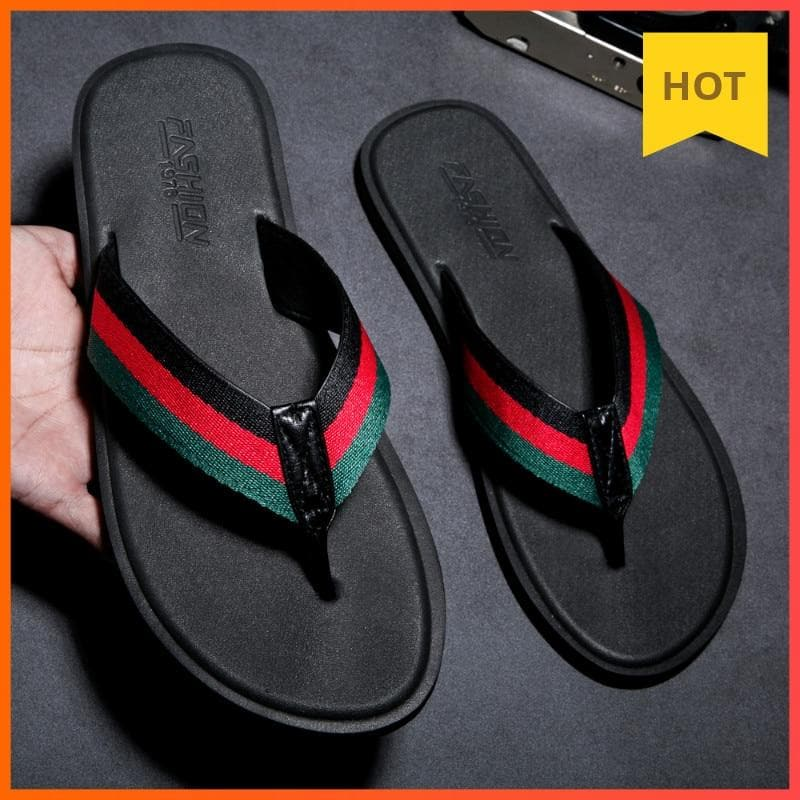 WEH Summer Men Rubber Slippers Handmade flip flops for men Comfortable Breathable Beach Classic Casual Flats men luxury shoes