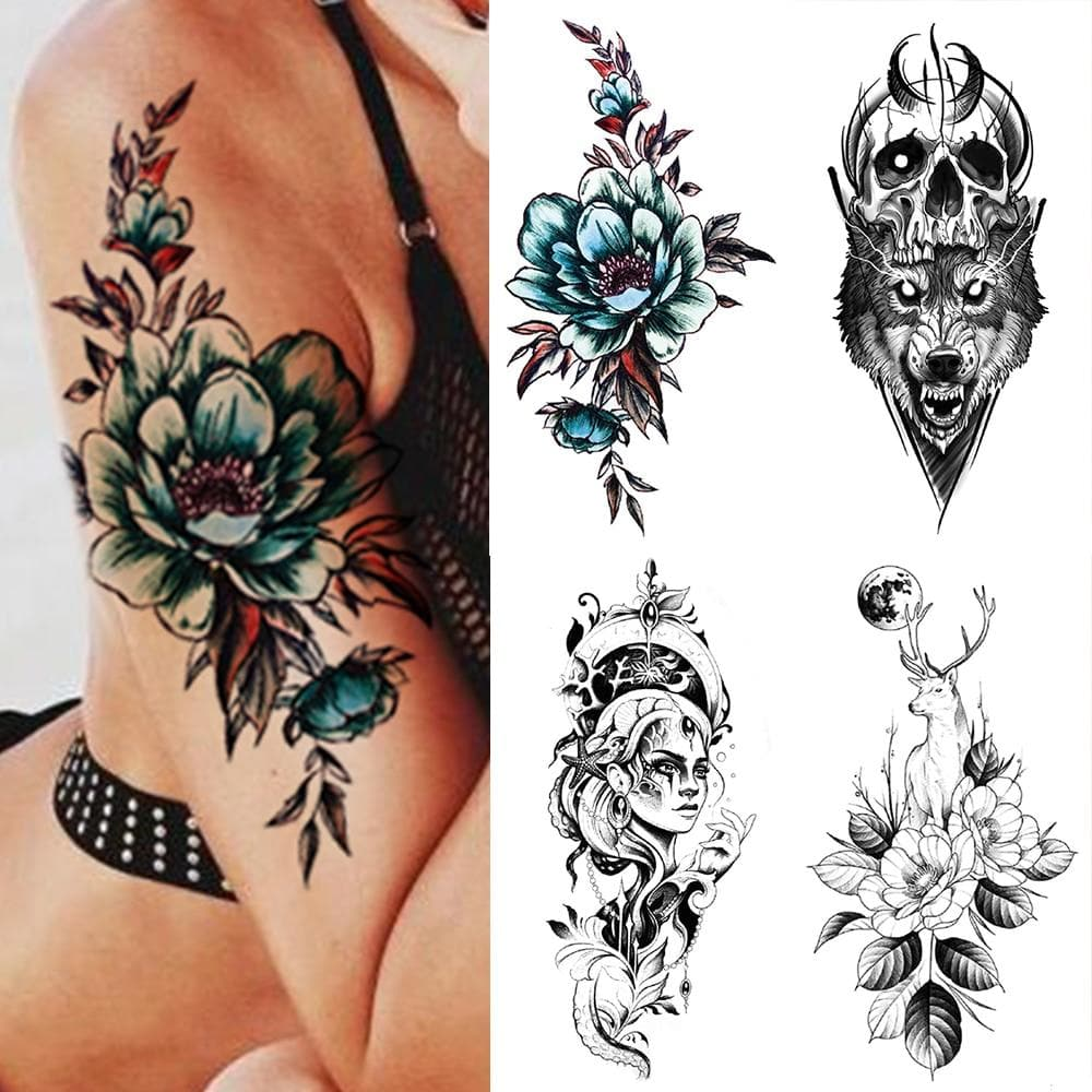 Waterproof Temporary Tattoo Sticker Blue Rose Unicorn Flash Tattoos Flowers Rose Moon Deer Body Art Arm Fake Sleeve Tatoo Women
