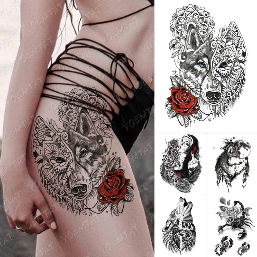 Waterproof Temporary Tattoo Sticker Wolf Totem Sexy Rose Flash Tattoos Mandala Henna Lace Body Art Arm Fake Tatoo Women Men