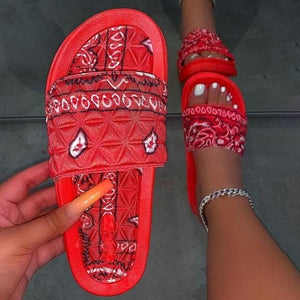 Women's Comfy Bandana Slip-On Slippers Slide Indoor Outdoor Flip-flops Beach Shoes  Summer Toe Flip Flops Non-Slip