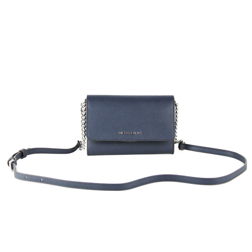 Jet Set Travel Medium Saffiano Leather Multifunctional Phone Crossbody Wallet Handbag (Navy)