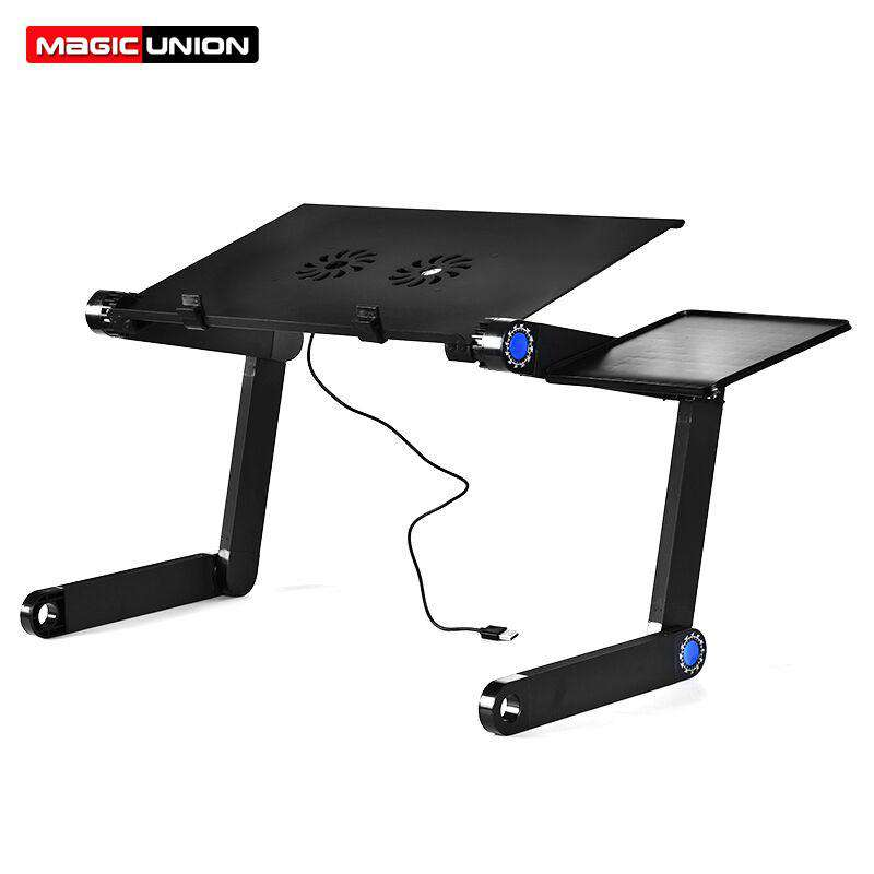 Magic Union Aluminum Alloy Laptop Table Folding Notebook Desktop Stand With Cooling Fan Bed Laptop Tray Desk Study Desk - Your Ego Goods