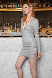 U.MAY Alexis Plunge Chain Mini Dress Silver