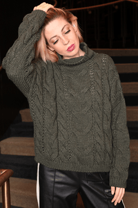 U.MAY Alice Cable Knit Jumper Khaki