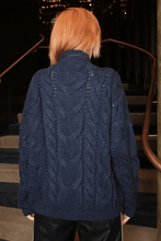 Load image into Gallery viewer, U.MAY Alice Cable Knit Jumper Navy