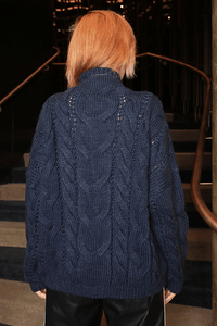 U.MAY Alice Cable Knit Jumper Navy