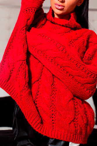 U.MAY Alice Cable Knit Jumper Red