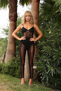 U.MAY Ariel Lace Catsuit Black