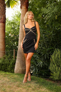 U.MAY Dakota Gold Chain Mini Dress Black