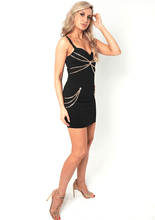Load image into Gallery viewer, U.MAY Dakota Gold Chain Mini Dress Black
