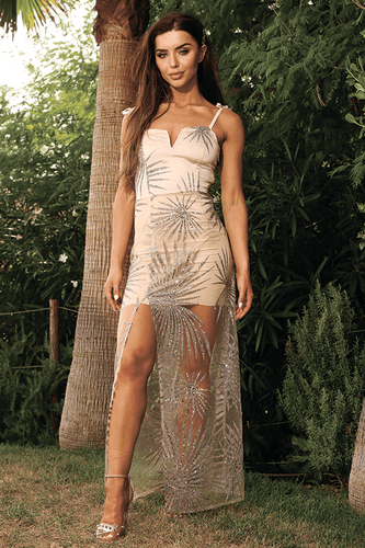 U.MAY Destiny Glitter Mesh Maxi Dress