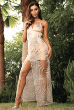 Load image into Gallery viewer, U.MAY Destiny Glitter Mesh Maxi Dress