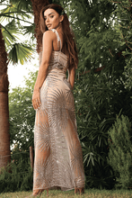 Load image into Gallery viewer, Destiny Glitter Mesh Maxi Dress