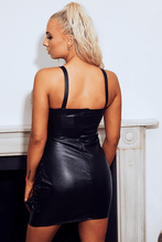 Load image into Gallery viewer, U.MAY Donna Black Vegan Leather Dress Black