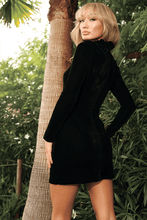 Load image into Gallery viewer, U.MAY Giselle Velvet and Sequin High Neck Mini Dress