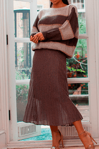 U.MAY Grace Midi Pleat Knitted Skirt Brown