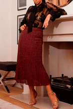 Load image into Gallery viewer, U.MAY Grace Midi Pleat Knitted Skirt Maroon