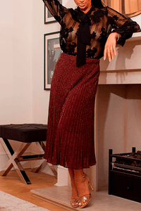 U.MAY Grace Midi Pleat Knitted Skirt Maroon