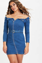 Load image into Gallery viewer, U.MAY Jamie Off Shoulder Denim Mini Dress