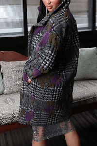 U.MAY Janey Houndstooth and Floral mix Coat