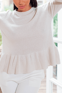 U.MAY Josie Peplum Jumper Beige