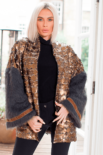 Lucia Mohair and Sequin Jacket Gold