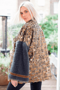 U.MAY Lucia Mohair and Sequin Jacket Gold