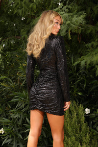 U.MAY Mia Sequin Mini Dress Black