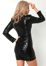 Load image into Gallery viewer, U.MAY Mia Sequin Mini Dress Black