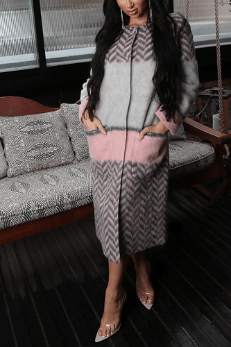 U.MAY Natalie Mixed Texture Coat - Grey and Pink