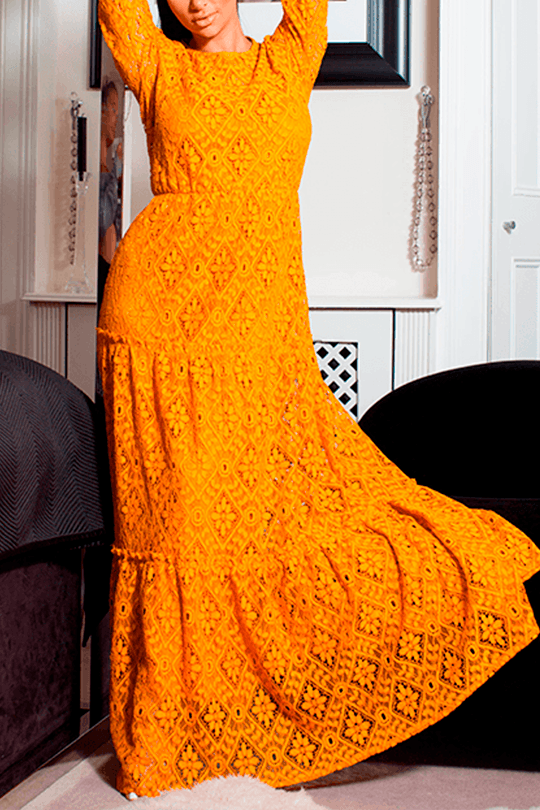 U.MAY Reagan Lace Maxi Dress Mustard