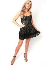 Load image into Gallery viewer, U.MAY Rose Star Mesh Skater Dress Black