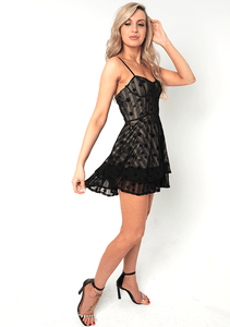 U.MAY Rose Star Mesh Skater Dress Black