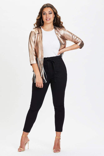 Rosie Fringe Leather Jacket Bronze