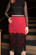 Load image into Gallery viewer, U.MAY Scarlet Lace Trim Midi Pencil Skirt