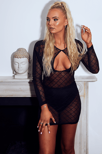 U.MAY Serenity Check Mesh Mini Dress Black