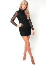 Load image into Gallery viewer, U.MAY Taylor Check Mesh Mini Dress Black