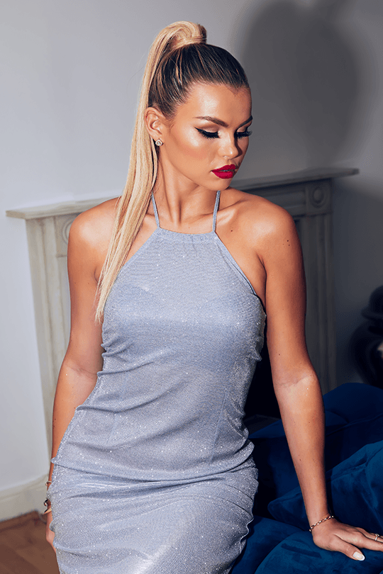 U.MAY Tegan High Neck Midi Dress Silver