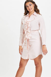 U.MAY2019 Becky Ruffle Shirt Dress Nude