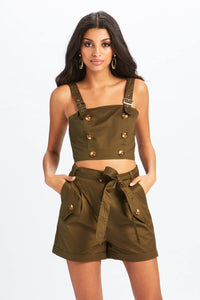 U.MAY2019 Elena Military Button Short Khaki